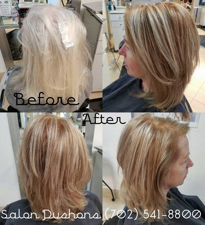 Before and after hair style transformations